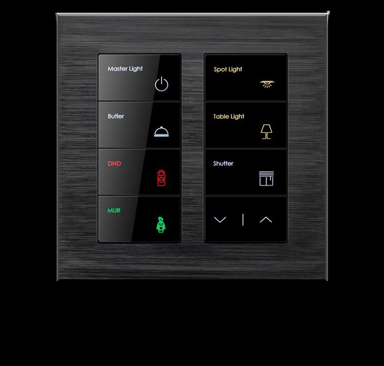 Сенсорный умный выключатель 8 кнопок и 16 действий, серия ALBA Black Nova