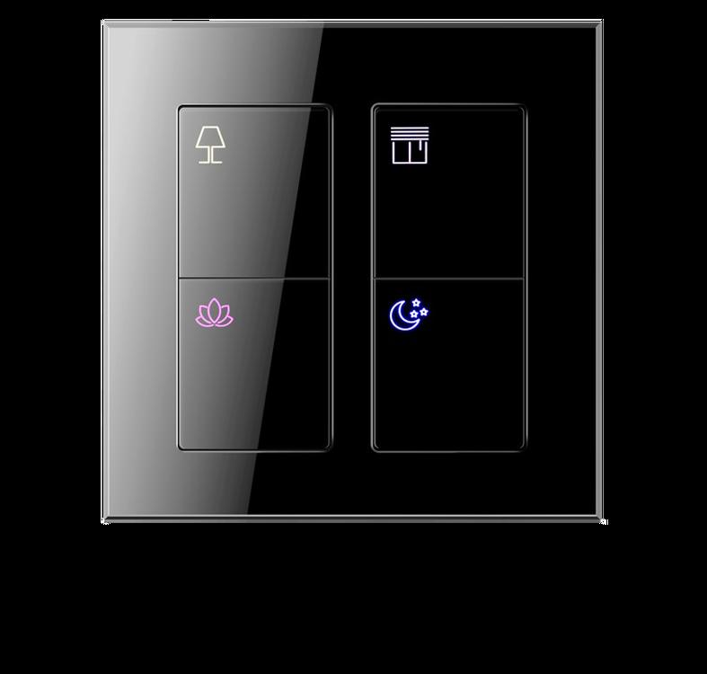 Умный выключатель 4 кнопки 8 действий, серия ALBA Black Nova
