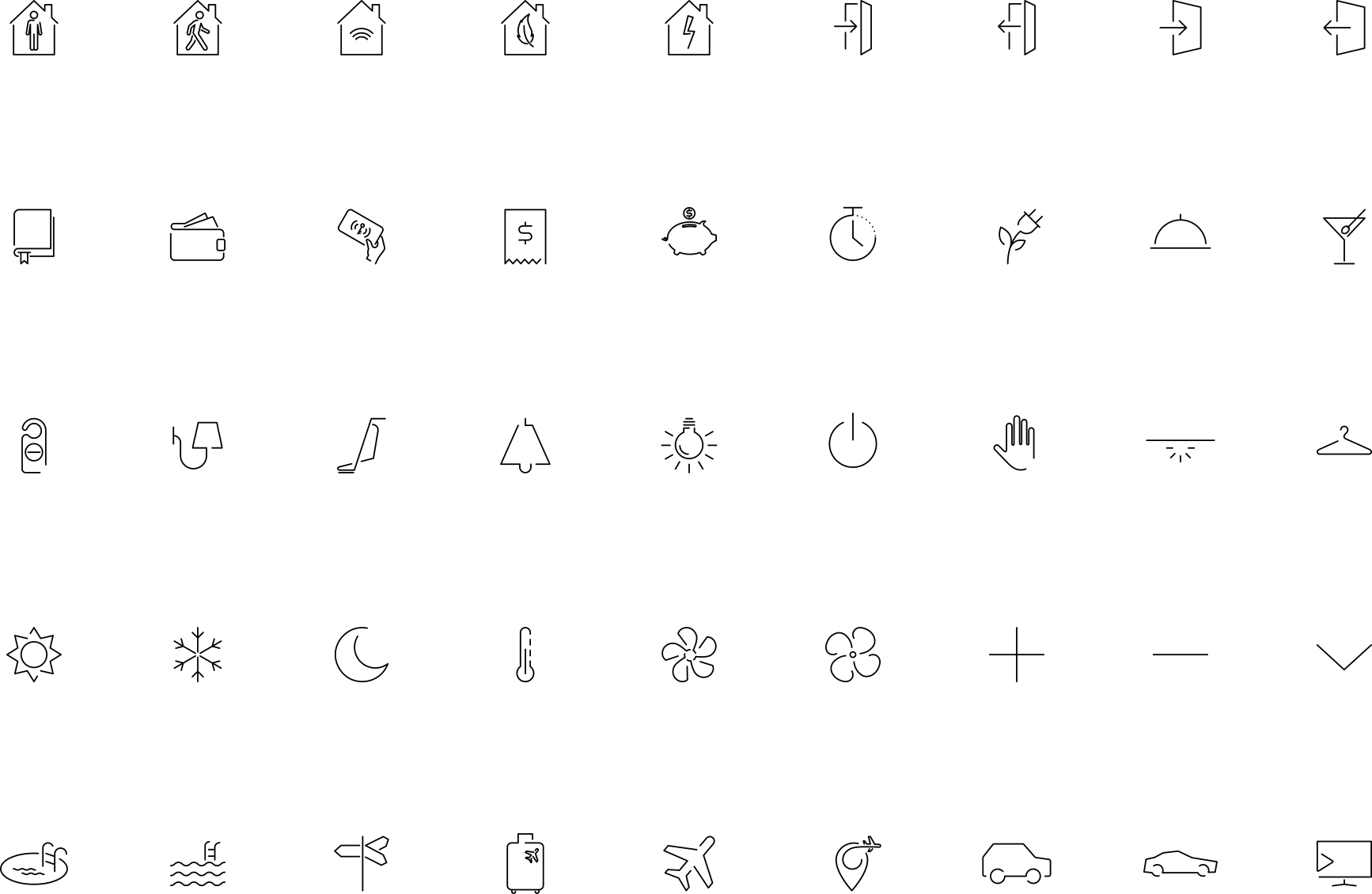 Иконки и значки для интеллектуальных выключателей BLACK NOVA