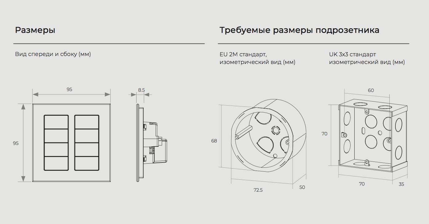 Размеры подрозетника для умного выключателя серии ALBA