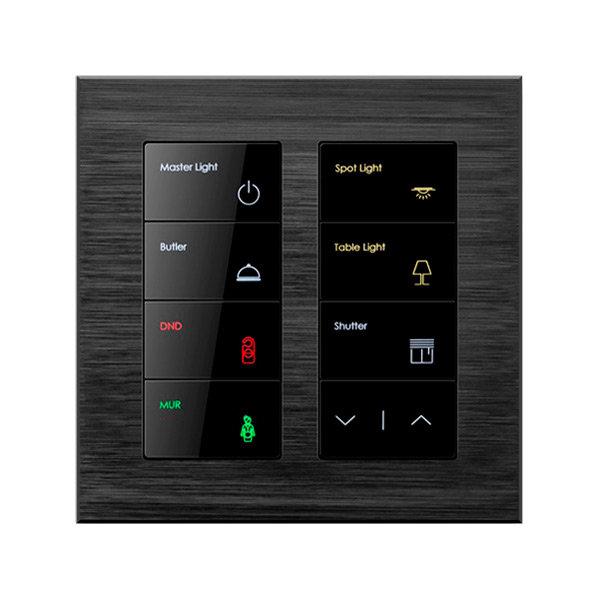 Клавишный умный выключатель Alba 8 кнопок, Blacknova